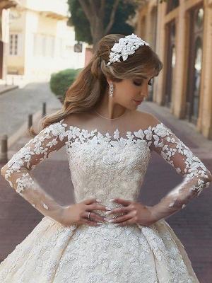 Satin Scoop Neckline Applique Long Sleeves Ball Gown Wedding Dresses UK_4