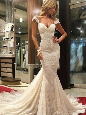 Lace Sleeveless Sweep Train  Sexy Mermaid V-neck Wedding Dresses UK_1