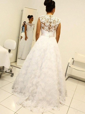 Lace Ball Gown Floor-Length Scoop Neckline Sleeveless Wedding Dresses UK_4