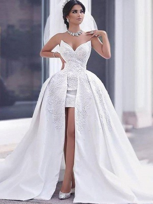 Sweetheart Beads Satin Ball Gown Sleeveless Wedding Dresses UK_3