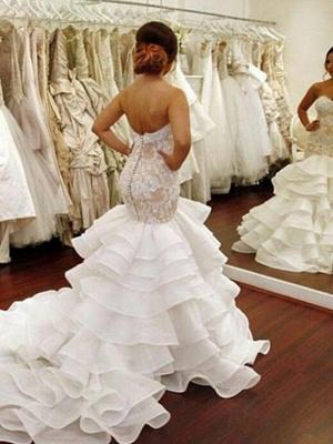 Organza Sleeveless Ruffles Sweetheart Applique Lace Sexy Mermaid Wedding Dresses UK_3