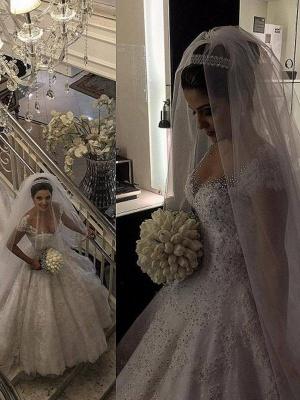 Floor-Length Tulle Cheap Sleeveless V-neck Beads Ball Gown Wedding Dresses UK_4
