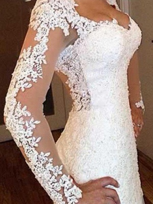 V-Neck Sweep Train Applique Lace Sexy Mermaid Long Sleeves Wedding Dresses UK_5