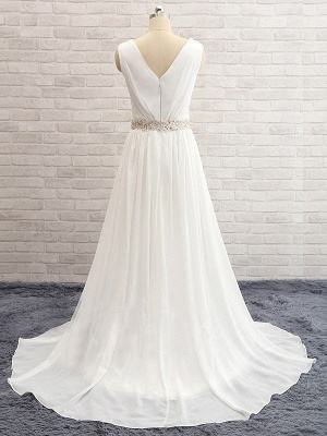 A-Line Sleeveless V-neck Sweep Train  Beads Wedding Dresses UK_5