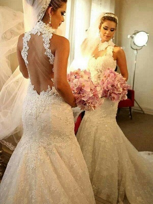High Neck Lace Sleeveless Court Train  Sexy Mermaid Wedding Dresses UK_1