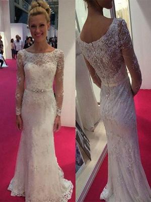 Sheath Lace Sweep Train Scoop Neckline Long Sleeves Wedding Dresses UK_1