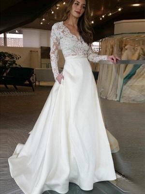 Sweep Train V-neck Satin A-Line Applique Long Sleeves Wedding Dresses UK_1