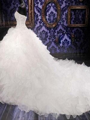 Sweetheart Sleeveless Organza  Beads Sequin Ball Gown Wedding Dresses UK_4