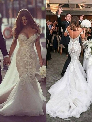 Off-the-Shoulder Sleeveless  Sexy Mermaid Tulle Cheap  Wedding Dresses UK_4