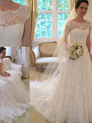 Court Train Applique A-Line Short Sleeves Square Lace Ribbon Wedding Dresses UK_4