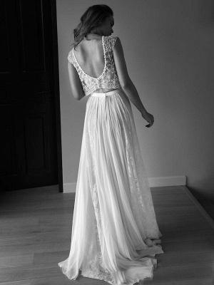 Tulle Sweep Train A-Line Scoop Neckline Sleeveless Beads Wedding Dresses UK_3