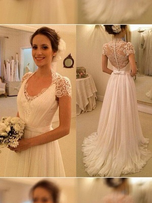 A-Line Sleeveless Lace V-neck  Sweep Train Wedding Dresses UK_1