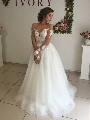 A-Line Off-the-Shoulder Organza Long Sleeves Sweep Train Wedding Dresses UK_4