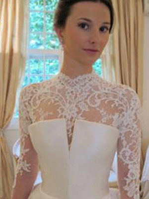 Satin Lace Ball Gown Long Sleeves High Neck Wedding Dresses UK_4