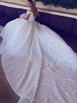V-neck  Ball Gown Sleeveless Satin Wedding Dresses UK_4