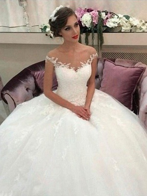 Sleeveless Off-the-Shoulder Tulle Cheap Court Train Ball Gown Wedding Dresses UK_1