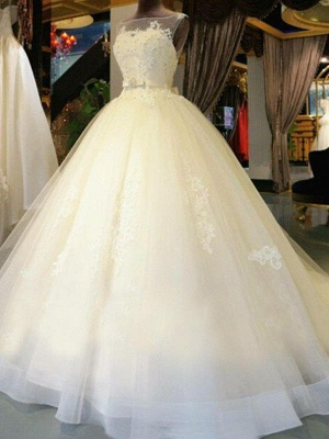 Applique Lace Ball Gown Off-the-Shoulder Sleeveless Ribbon Beads Sweep Train Wedding Dresses UK_3