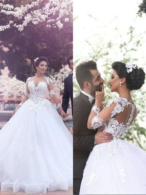 Tulle Cheap Ball Gown Court Train Long Sleeves Sweetheart Wedding Dresses UK_3