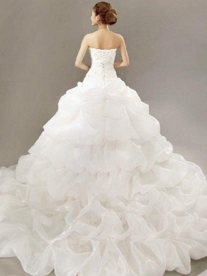Cathedral Train Beads Ball Gown Strapless Organza Lace Pleats Sleeveless Wedding Dresses UK_3