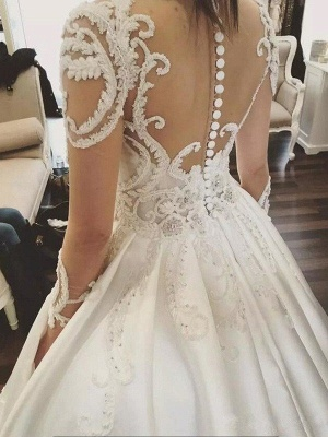 Satin Ball Gown Scoop Neckline Cathedral Train Applique Long Sleeves Wedding Dresses UK_5