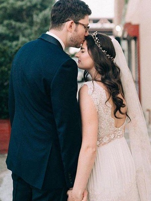 Floor-Length A-Line  V-Neck Lace Short Sleeves Ruched Wedding Dresses UK_4