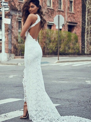 Lace Sexy Mermaid Sweep Train Sleeveless Halter Wedding Dresses UK_3
