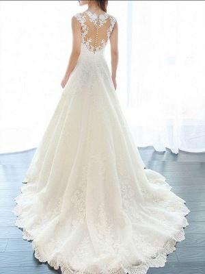 Court Train A-Line Lace  V-Neck Applique Sleeveless Wedding Dresses UK_4
