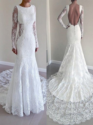 Long Sleeves Lace Sexy Mermaid Court Train Scoop Neckline Wedding Dresses UK_1