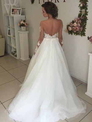 A-Line Off-the-Shoulder Organza Long Sleeves Sweep Train Wedding Dresses UK_3