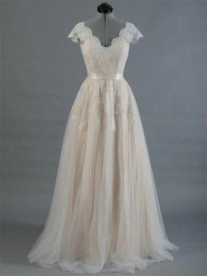 Sweep Train A-Line Sleeveless Applique Lace V-neck Wedding Dresses UK_1