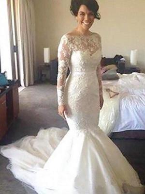 Tulle Applique A-Line Bateau Court Train Long Sleeves Wedding Dresses UK_1