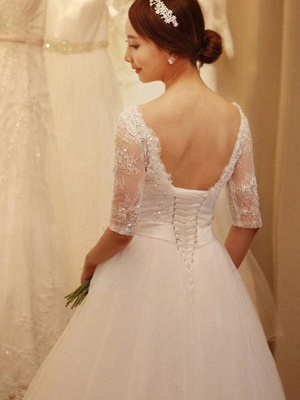 Tulle Ball Gown Beads Off-the-Shoulder 1/2 Sleeves Wedding Dresses UK_3
