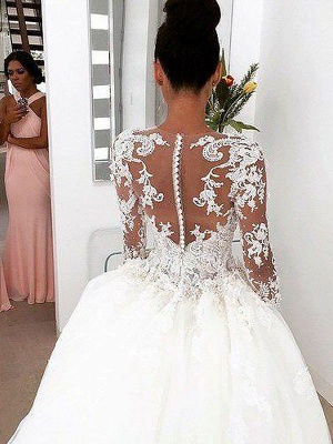 Scoop Neckline Lace Ball Gown Court Train Long Sleeves Wedding Dresses UK_4