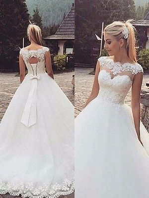 Tulle Ball Gown Bateau Lace Court Train Sleeveless Wedding Dresses UK_1