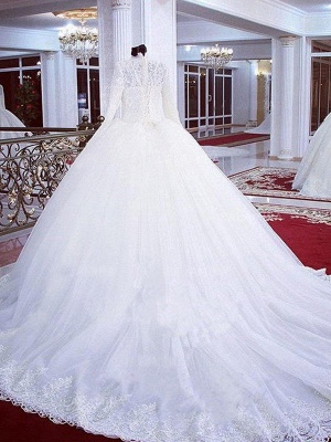 Lace Ball Gown Tulle Cheap High Neck Long Sleeves Wedding Dresses UK_3