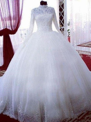 Lace Ball Gown Tulle Cheap High Neck Long Sleeves Wedding Dresses UK_1