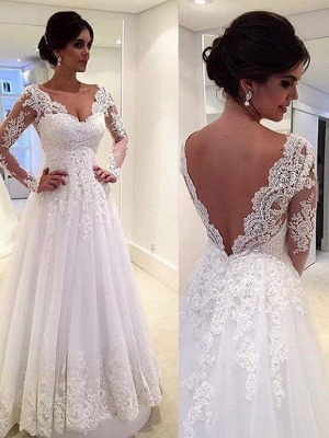 V-neck Ball Gown Tulle Cheap Lace Long Sleeves Court Train Wedding Dresses UK_4