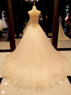 Tulle Cheap Ball Gown Sleeveless Sweetheart Court Train Beads Wedding Dresses UK_3
