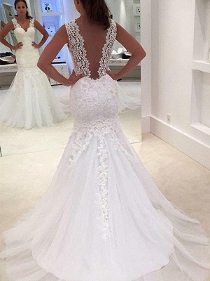 V-Neck Sexy Mermaid Court Train Applique Lace Sleeveless Wedding Dresses UK_1
