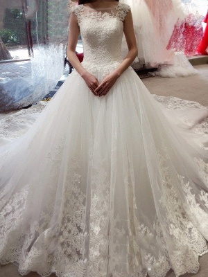 Court Train Sleeveless Tulle Cheap Ball Gown Bateau Applique Wedding Dresses UK_1