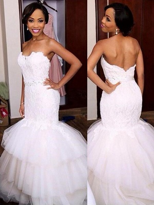 Sleeveless Tulle Sexy Mermaid Court Train Sweetheart Lace Wedding Dresses UK_1