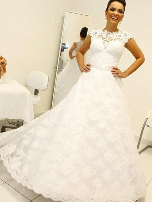 Lace Ball Gown Floor-Length Scoop Neckline Sleeveless Wedding Dresses UK_3