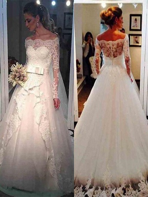 Long Sleeves Sweep Train Ball Gown Off-the-Shoulder Tulle Wedding Dresses UK_1