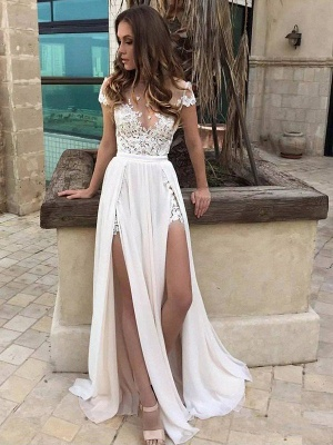 Sleeveless V-neck Lace  A-Line Floor-Length Wedding Dresses UK_1