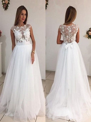 Tulle Sleeveless A-Line Sweep Train Scoop Neckline Wedding Dresses UK_1