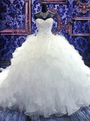 Sweetheart Sleeveless Organza  Beads Sequin Ball Gown Wedding Dresses UK_5