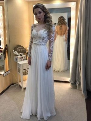 Floor-Length Lace  A-Line Bateau Long Sleeves Wedding Dresses UK_1