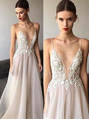 Sweep Train Spaghetti Straps A-Line  V-Neck Lace Tulle Sleeveless Wedding Dresses UK_1