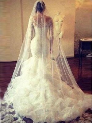 Scoop Neckline Sexy Mermaid Court Train Tulle Long Sleeves Lace Wedding Dresses UK_4