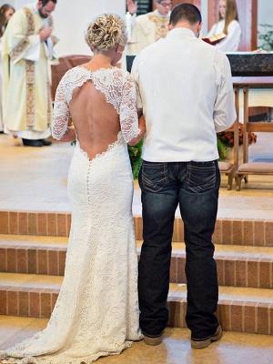 1/2 Sleeves Sweep Train Sheath Ruched Lace Scoop Neckline Wedding Dresses UK_3